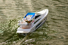 Electric radiocontrolled model boat Stock Photo