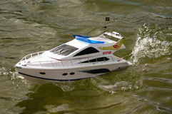 Electric radiocontrolled model boat Royalty Free Stock Images
