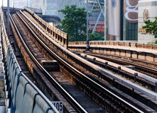 Electric railway in bangkok city daytime Royalty Free Stock Photos