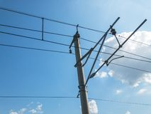 Electric Railway Parallel Overhead Line or Wire To Transmit Electrical Energy to Train or Locomotive. Electric Power Transmission. System  For Railway stock image