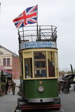 Electric railway tram & Union Jack flag Royalty Free Stock Photos