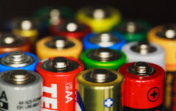 Electric rainbow from batteries stock photos
