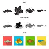 Electric ramp, mussels, crab, sperm whale.Sea animals set collection icons in black, flat, monochrome style vector. Symbol stock illustration Stock Photos