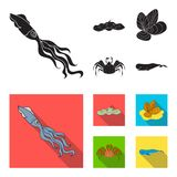 Electric ramp, mussels, crab, sperm whale.Sea animals set collection icons in black, flat style vector symbol stock. Illustration Stock Photos