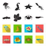 Electric ramp, mussels, crab, sperm whale.Sea animals set collection icons in black,flet style vector symbol stock. Illustration Royalty Free Stock Photo