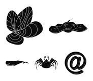 Electric ramp, mussels, crab, sperm whale.Sea animals set collection icons in black style vector symbol stock. Illustration Stock Photo