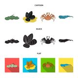 Electric ramp, mussels, crab, sperm whale.Sea animals set collection icons in cartoon,black,flat style vector symbol. Stock illustration Royalty Free Stock Photography