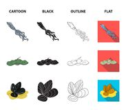 Electric ramp, mussels, crab, sperm whale.Sea animals set collection icons in cartoon,black,outline,flat style vector. Symbol stock illustration Royalty Free Stock Images