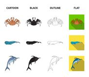 Electric ramp, mussels, crab, sperm whale.Sea animals set collection icons in cartoon,black,outline,flat style vector. Symbol stock illustration Royalty Free Stock Image