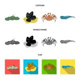 Electric ramp, mussels, crab, sperm whale.Sea animals set collection icons in cartoon,flat,monochrome style vector. Symbol stock illustration Royalty Free Stock Photos