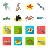 Electric ramp, mussels, crab, sperm whale.Sea animals set collection icons in cartoon,flat style vector symbol stock. Illustration Stock Photography