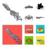 Electric ramp, mussels, crab, sperm whale.Sea animals set collection icons in monochrome,flat style vector symbol stock. Illustration Stock Images