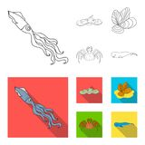 Electric ramp, mussels, crab, sperm whale.Sea animals set collection icons in outline,flat style vector symbol stock. Illustration Royalty Free Stock Image