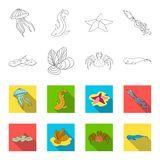Electric ramp, mussels, crab, sperm whale.Sea animals set collection icons in outline,flat style vector symbol stock. Illustration Stock Photo