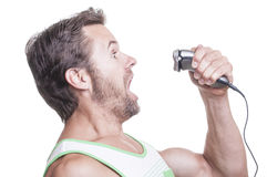 Electric razor attack Royalty Free Stock Photo