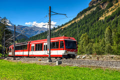 Electric red tourist train,Switzerland,Europe Stock Photo