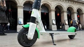 Electric Rental Scooter Lime-S In Lyon France. Lyon, France - January 4, 2019: Lime-S Electric Rental Scooter Parked In Front Of The National Opera Of Lyon stock video footage