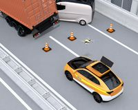 Electric rescue SUV released drone to recording car accident on highway. 3D rendering image stock illustration