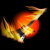 Electric Rock Guitar in fire and flame Royalty Free Stock Photography