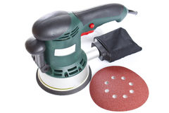 Electric sandpaper tool for home handyman use, isolated over . Stock Photography