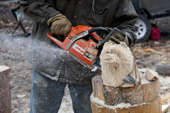 Electric Saw bear head sculpture Stock Images