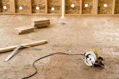 Electric Saw in Empty Room Stock Photo