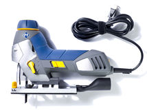 Electric saw. Modern electric saw on white Stock Photography