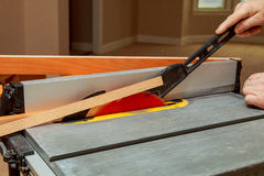 Electric saw table tool for woodwork with nobody Royalty Free Stock Photos