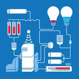 Electric scheme with light bulbs, batteries and Royalty Free Stock Image