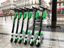 Electric scooter of the company Lime in the street in Lyon Franc. Lyon France, 2 December 2018 : Lime-S electric scooter of the company Lime in the street in royalty free stock photos
