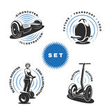 Electric scooter emblems. On white background. Layered. Text is on the separate layer Royalty Free Stock Photos