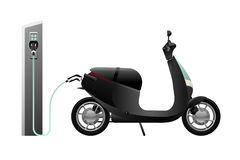 Electric scooter for sharing. With charging station. Vector illustration EPS 10 vector illustration