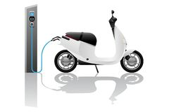 Electric scooter for sharing. With charging station. Vector illustration EPS 10 stock illustration
