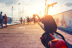 Electric Scooter Transport Vehicle, Rent For Tourist, Parked In Pier Ecologic Urban Transportation Concept Royalty Free Stock Photos
