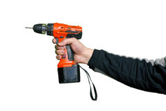 Electric screw-driver. And man's hand Royalty Free Stock Photo