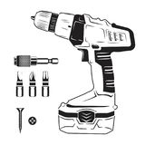 Electric screwdriver and bits. Monochrome style, vector Royalty Free Stock Photos
