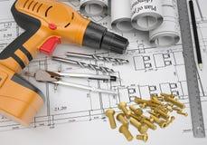 Electric screwdriver, fastening hardware, borers, Stock Photo