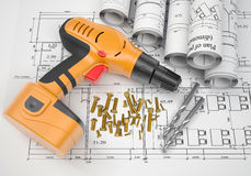 Electric screwdriver, fastening hardware, borers, Royalty Free Stock Images