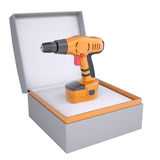 Electric screwdriver in open gift box Royalty Free Stock Images
