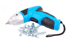 Electric screwdriver and screw Royalty Free Stock Photo