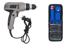 Electric screwdriver and set bits Stock Photography