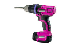 Power tool. Electric screwdriver. White background Stock Photo