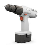 Electric screwdriver  on white bcakground. 3d. Stock Photography