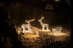Electric sculptures of deers. royalty free stock image