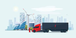 Electric Semi Truck in City with Solar Panels and Wind Turbines stock illustration