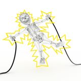 Electric Shock. 3D character getting electrocuted by holding two wires Stock Photos