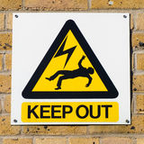Electric shock death warning yellow sign on wall, squared Royalty Free Stock Images
