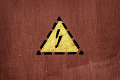 Electric shock sign painted on door Royalty Free Stock Photography