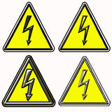 Electric shock warning signs Stock Photos