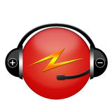 Electric sign. Red electric earhones sign with ligthening Royalty Free Stock Photos